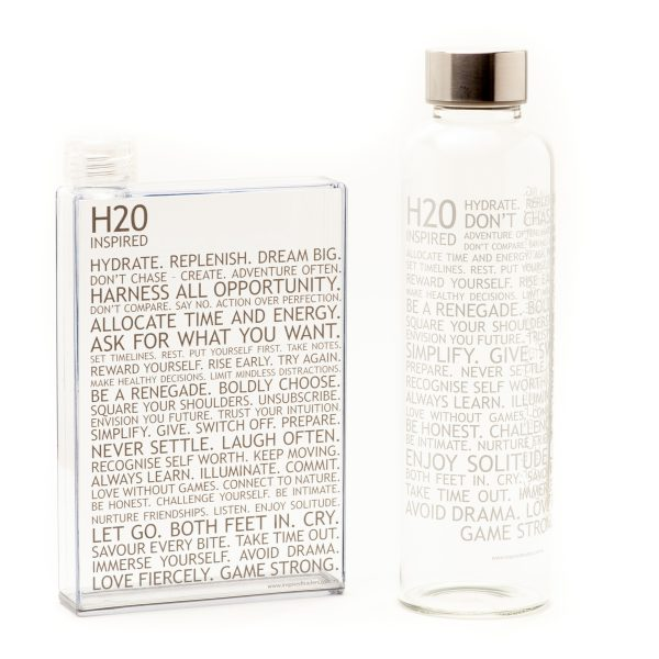 Inspired H2O – Glass Water Bottle